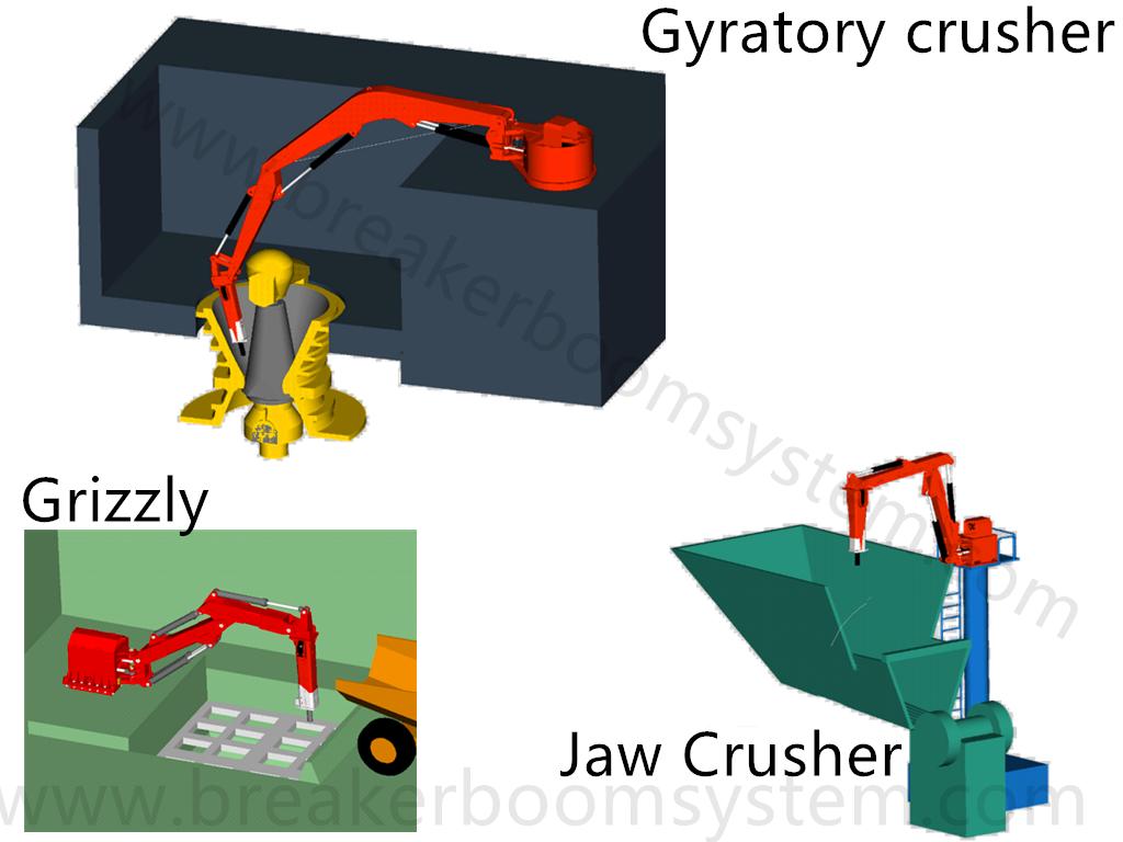hydraulic rockbreaker boom systems