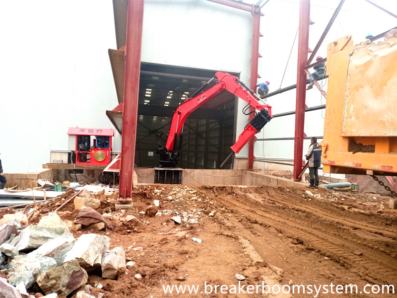 Fixed Type Pedestal Rockbreaker Boom System Clears The Blockage Problem At The Hopper Of Jaw Crusher